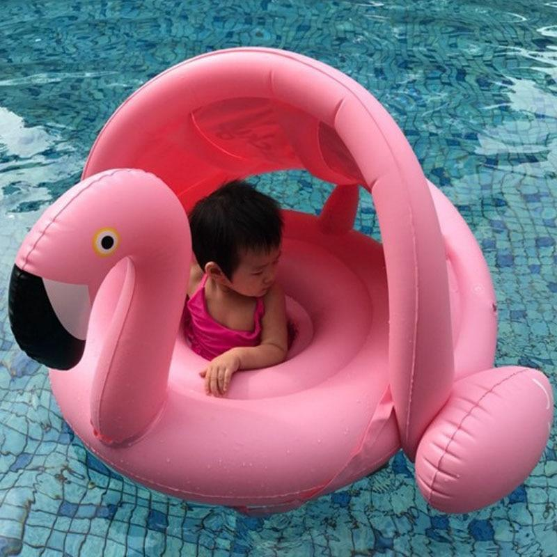 Inflatable Baby Flamingo Pool Float with Shade