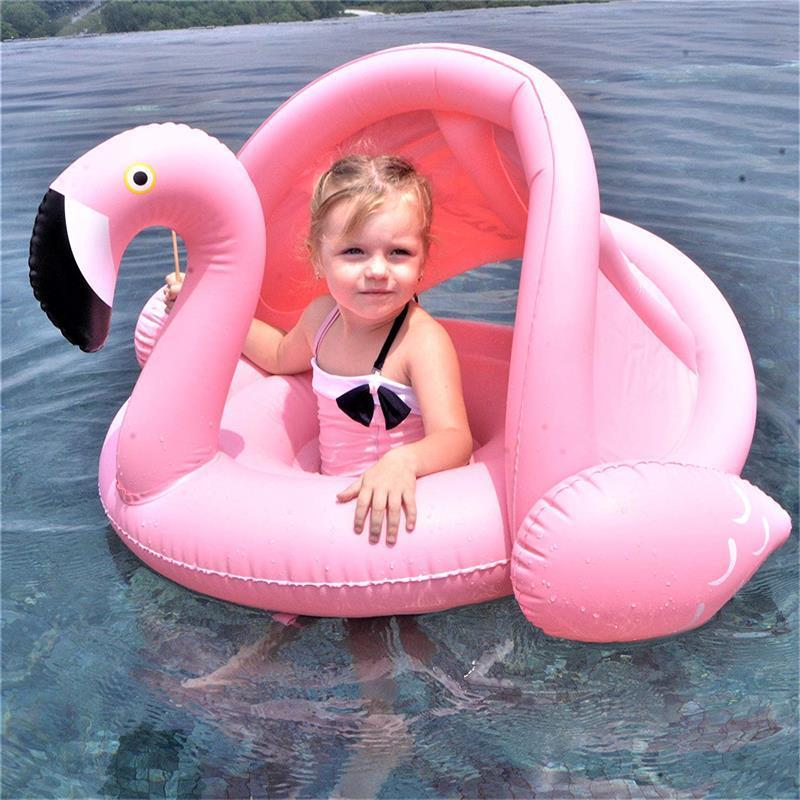Inflatable Baby Flamingo Beach Float with Shade
