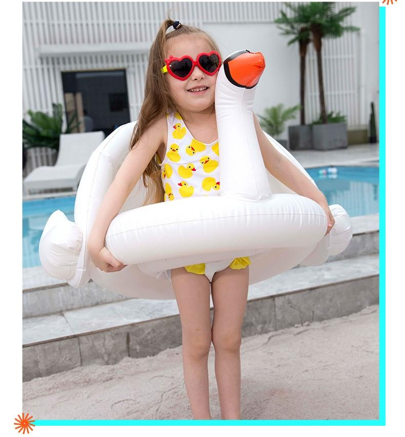Inflatable Baby Swan Pool Float with Shade
