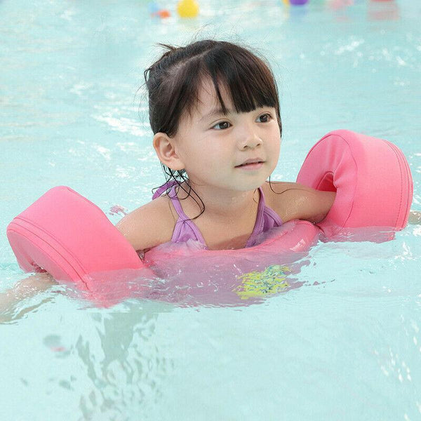 Pink Safety Baby Puddle Jumper with Arms Swim Trainer in Pool