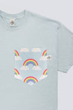 Pastel Blue Rainbows and Clouds Pocket T-shirt