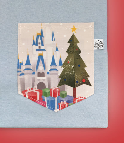 Christmas Castle View Pocket T-shirt