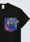 Castle Fireworks View Pocket T-shirt