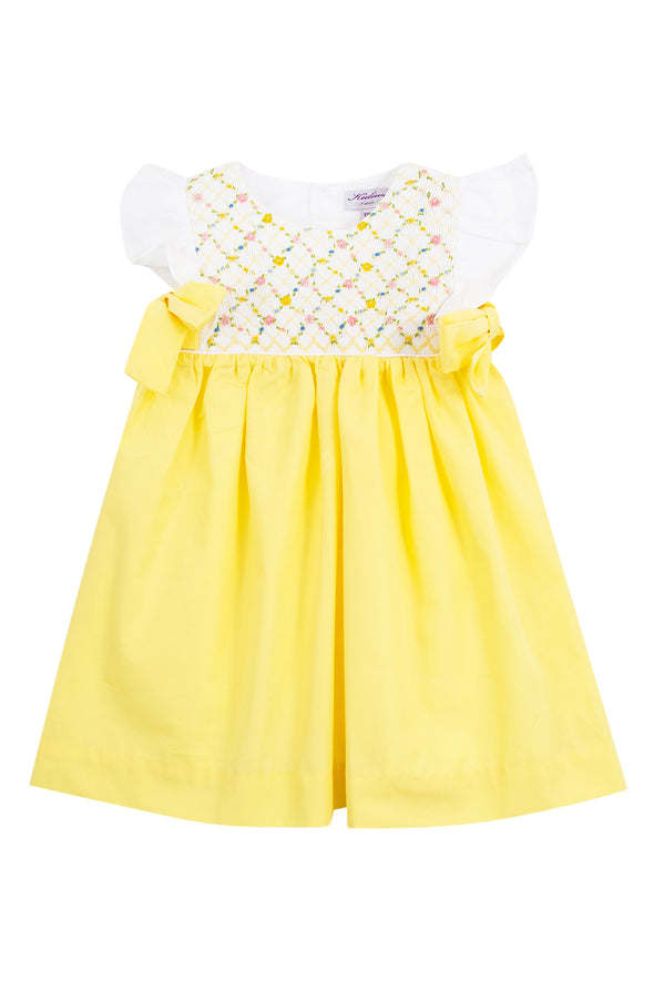 Yellow Flower Embroidered Smock Dress