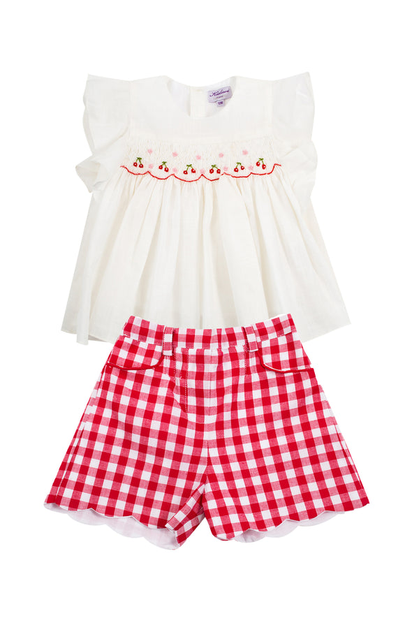 Cherry Top and Red Gingham Scallop Short Set