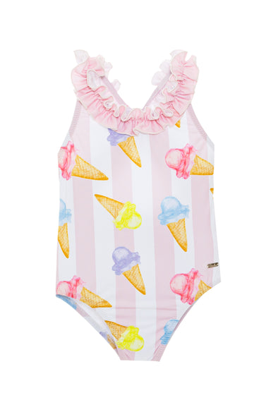 Ice Cream Striped One Piece Swimsuit