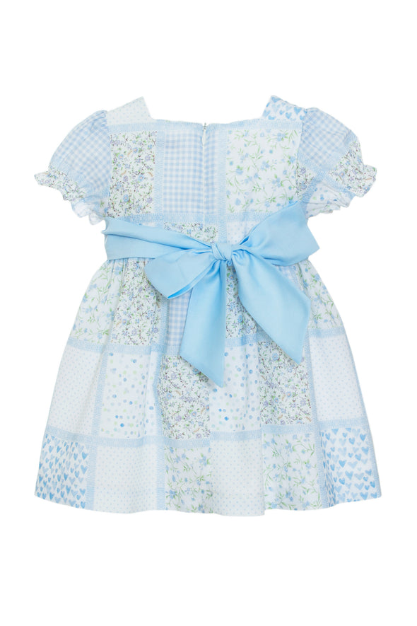 Patchwork Floral Puff Sleeve Bow Dress