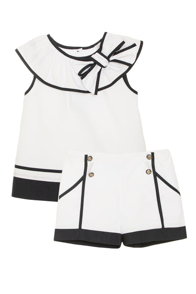 White with Navy Piping Top and Short Set