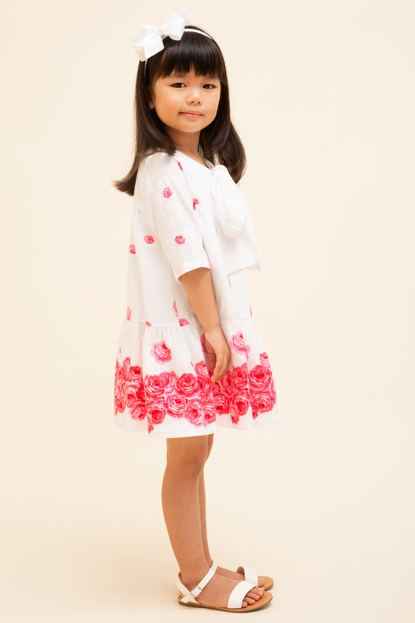 Pink Rose Tiered Bow Dress