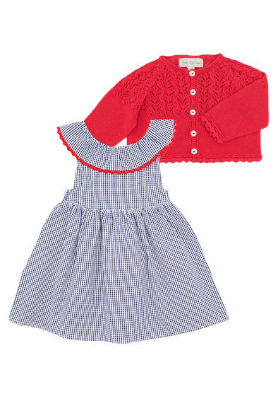 Navy Gingham Dress and Red Cardigan Set