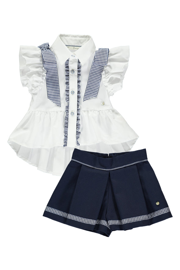 High Low Ruffle Ginhham Blouse and Navy Short Set