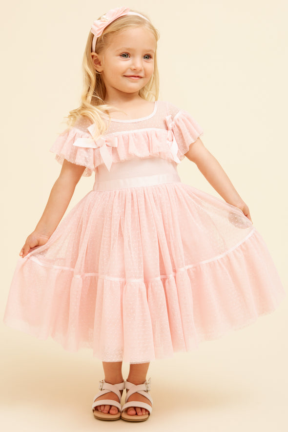 Pink Tulle Tiered Bow Party Dress