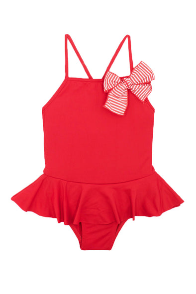 Red Striped Bow One Piece Swimsuit