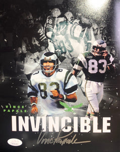 Vince Papale Philadelphia Eagles Signed Collage Black 8x10 Invincible Inscr. With JSA COA