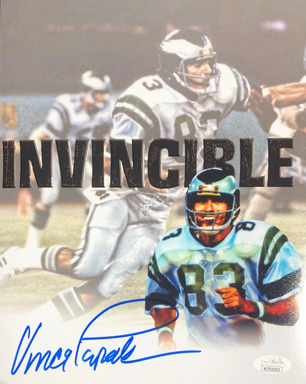 Vince Papale Philadelphia Eagles Signed Collage White 8x10 Invincible Inscr. With JSA COA