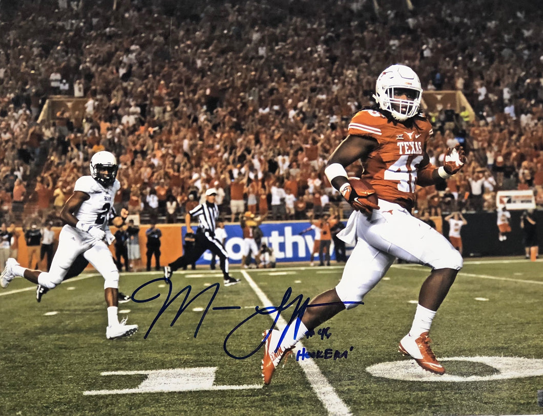 Malik Jefferson Texas Longhorns Signed 16x20 Hook Em Inscr. With COA