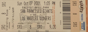 Barry Bonds San Francisco Giants 73rd Home Run Authentic Ticket