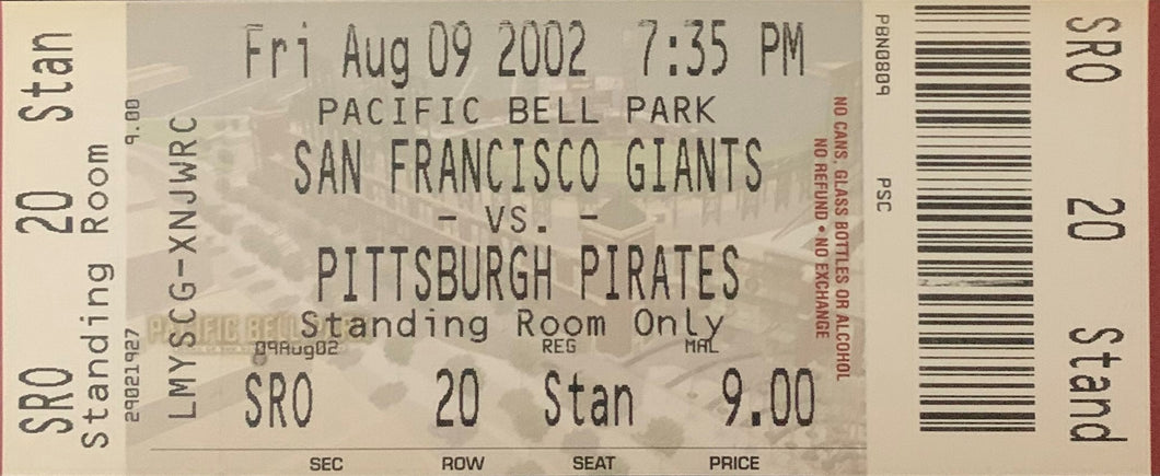 Barry Bonds San Francisco Giants 600th Home Run Authentic Ticket