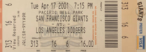 Barry Bonds San Francisco Giants 500th Home Run Authentic Ticket