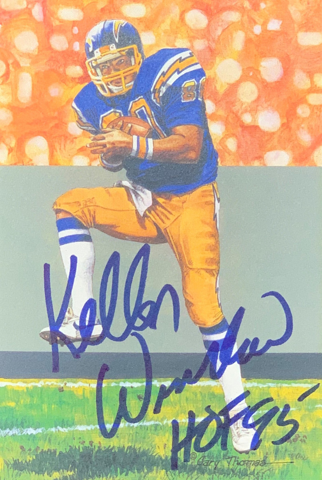 Kellen Winslow Los Angeles Chargers Signed Goal Line Art Card With JSA COA