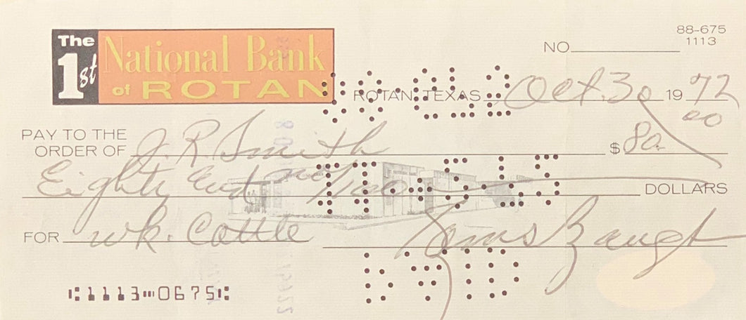 Sammy Baugh Washington Redskins Signed National Bank Of Rotan Check With JSA COA