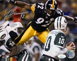 James Harrison Pittsburgh Steelers Signed 8x10 Pennington Sack With JSA COA