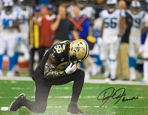 Demario Davis New Orleans Saints Signed 16x20 Kneeling A Man Of God Inscr. With JSA COA