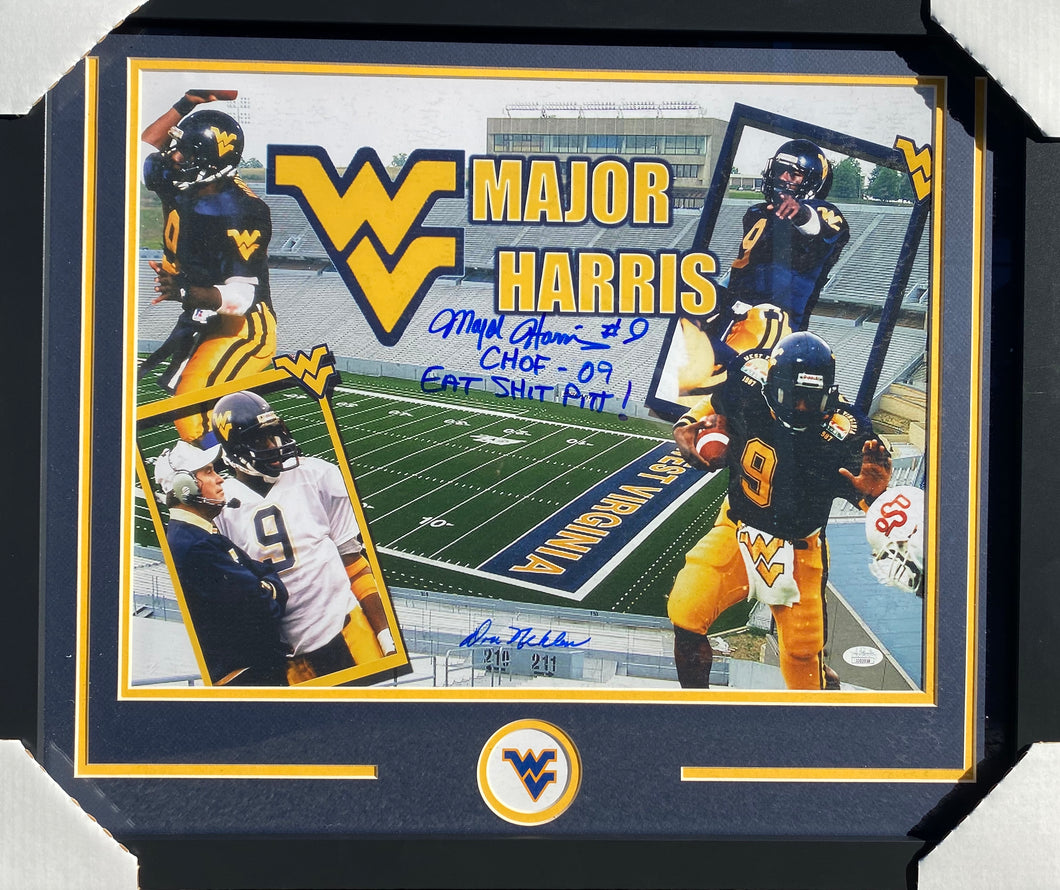 Major Harris and Don Nehlan West Virginia Mountaineers Signed Framed 16x20 Collage CHOF 09 Eat Shit Pitt Inscr. With JSA COA