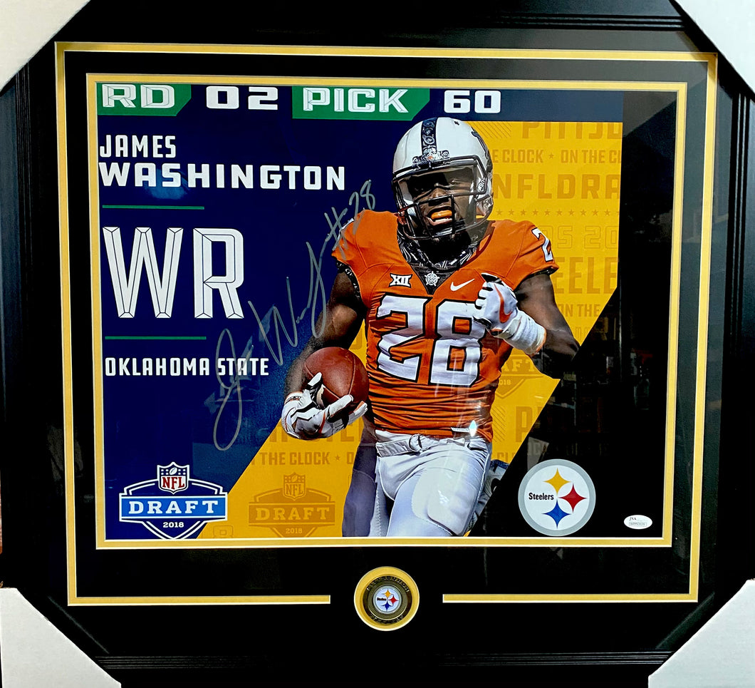 James Washington Pittsburgh Steelers Signed Framed 16x20 Draft Day With JSA COA