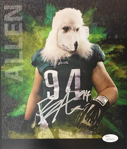 Beau Allen Philadelphia Eagles Signed 8x10 Dog Head With JSA COA