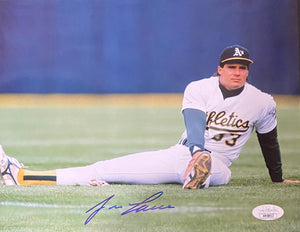Jose Canseco Oakland Athletics Signed 8x10 Stretching With JSA COA