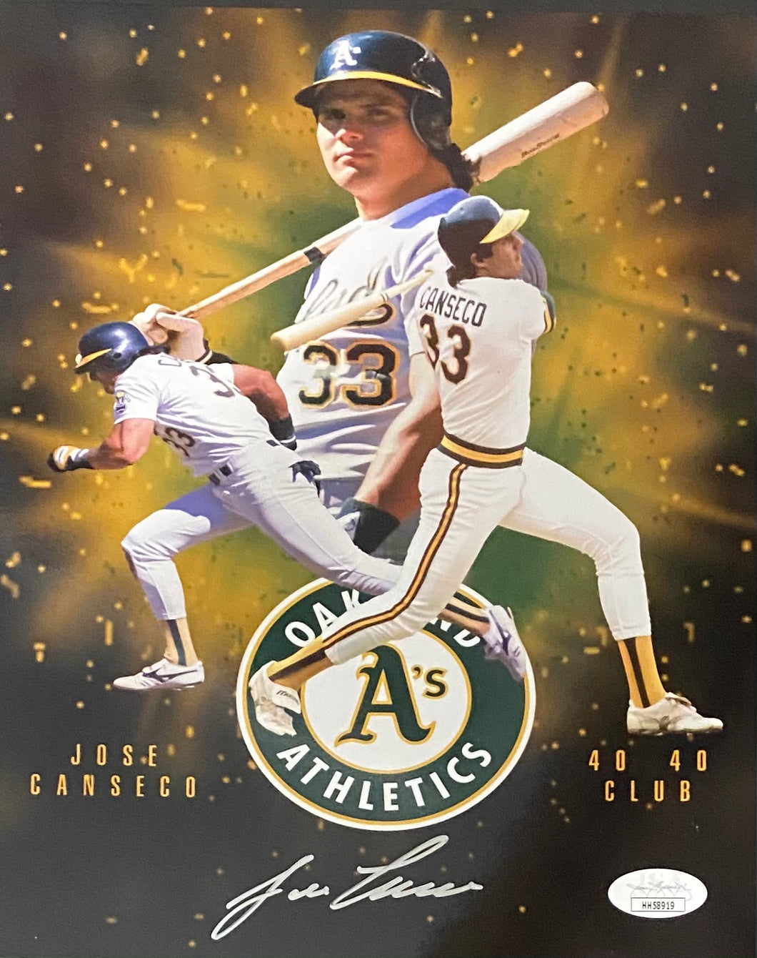 Jose Canseco Oakland Athletics Signed 8x10 Collage With JSA COA
