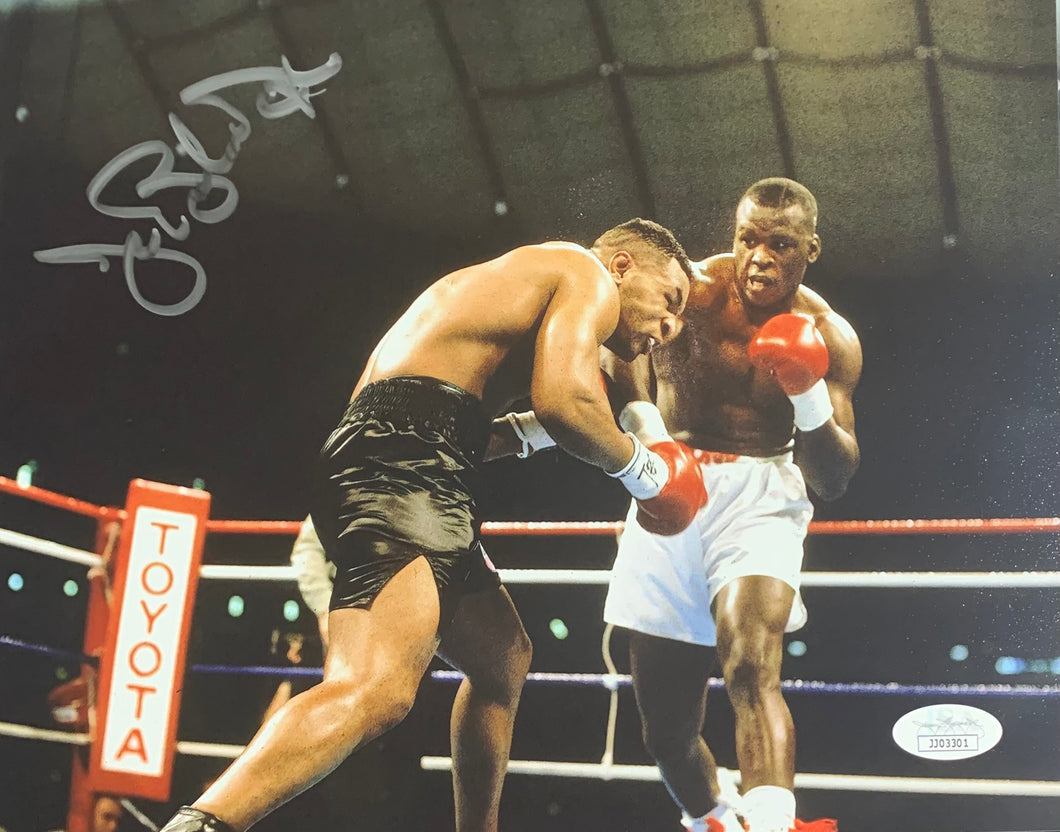 Buster Douglas Boxing Signed 8x10 Punching Tyson With JSA COA