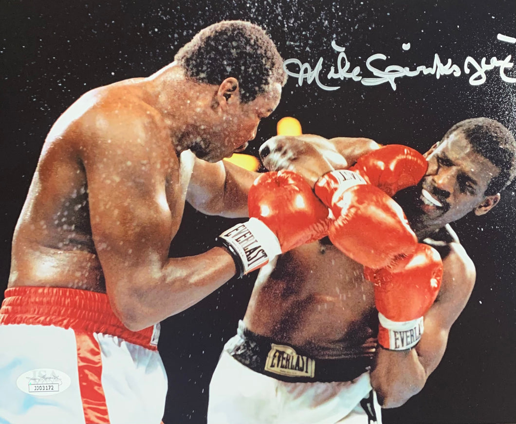 Michael Spinks Boxing Signed 8x10 Sweat Jinx Inscr. With JSA COA