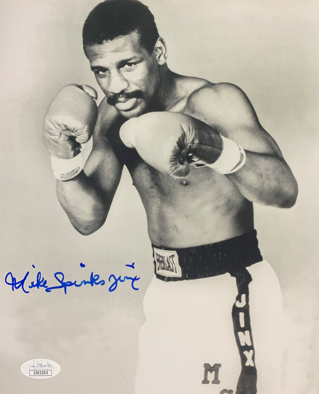 Michael Spinks Boxing Signed 8x10 B/W Jinx Inscr. With JSA COA
