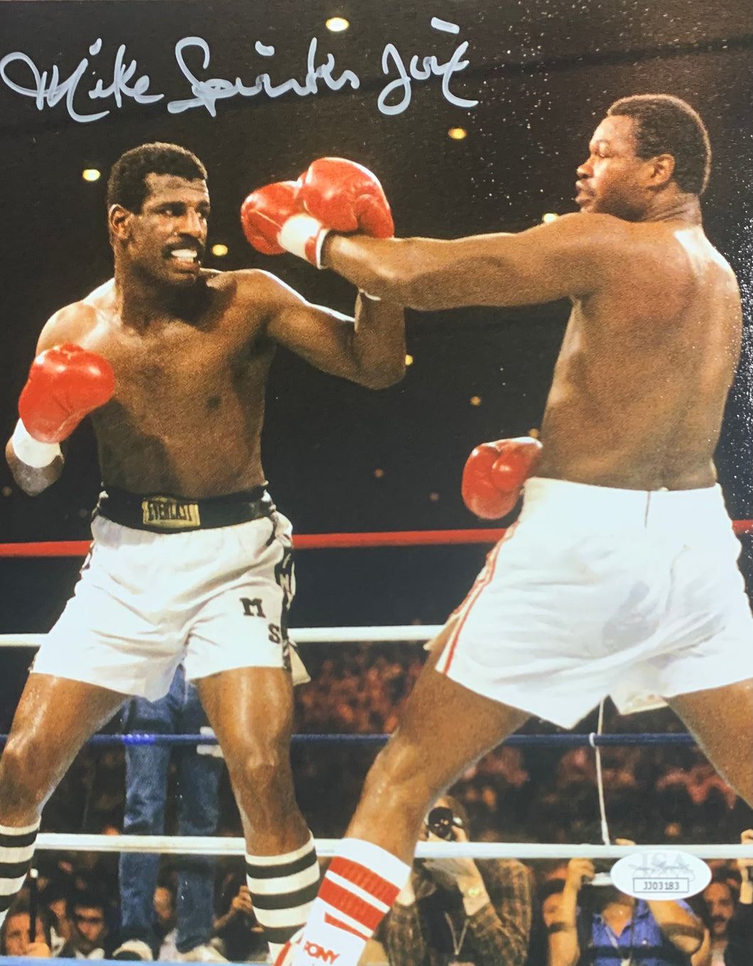 Michael Spinks Boxing Signed 8x10 Jinx Inscr. Vertical With JSA COA