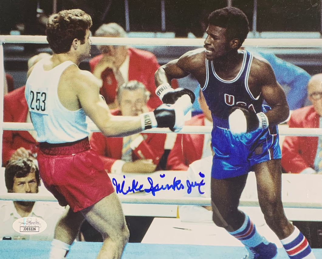 Michael Spinks Boxing Signed 8x10 Olympics Jinx Inscr. With JSA COA