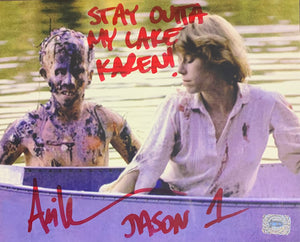 Ari Lehman Signed Friday the 13th 8x10 Karen Stay Outta My Lake Karen Inscr. With Ari Lehman COA