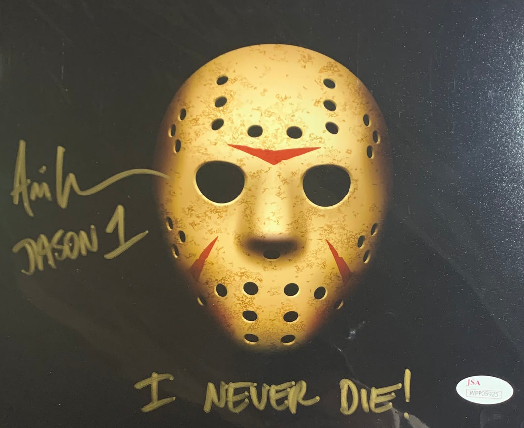 Ari Lehman Signed Friday the 13th 8x10 Mask I Never Die Inscr. With JSA COA