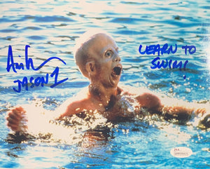 Ari Lehman Signed Friday the 13th 8x10 Drowning Learn To Swim Inscr. With JSA COA