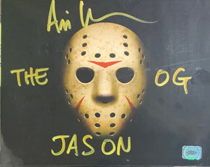 Ari Lehman Signed Friday the 13th 8x10 Mask The OG Jason Inscr. With JSA COA