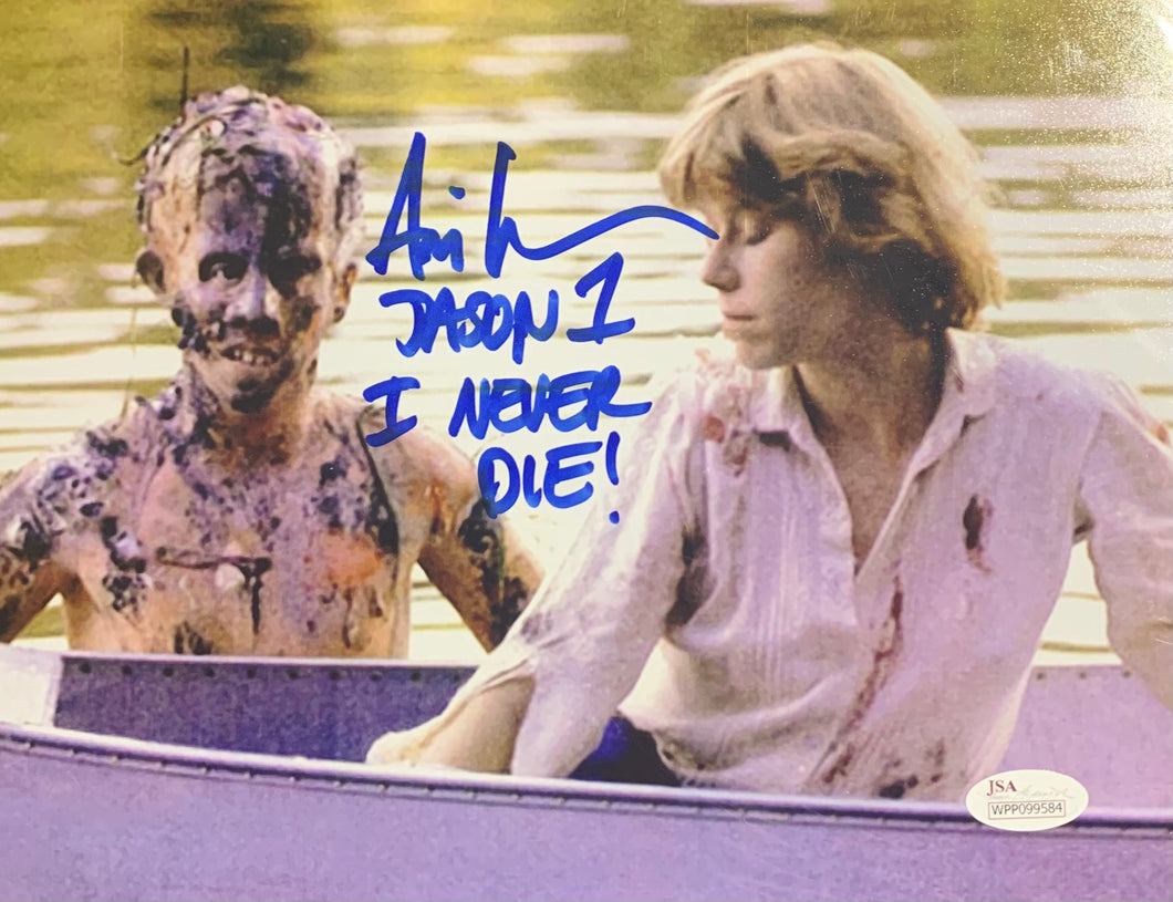 Ari Lehman Signed Friday the 13th 8x10 Karen I Never Die Inscr. With JSA COA