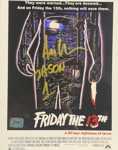 Ari Lehman Signed Friday the 13th 8x10 Movie Poster Knife With Ari Lehman COA