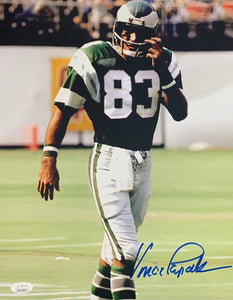 Vince Papale Philadelphia Eagles Signed 11x14 Green With JSA COA