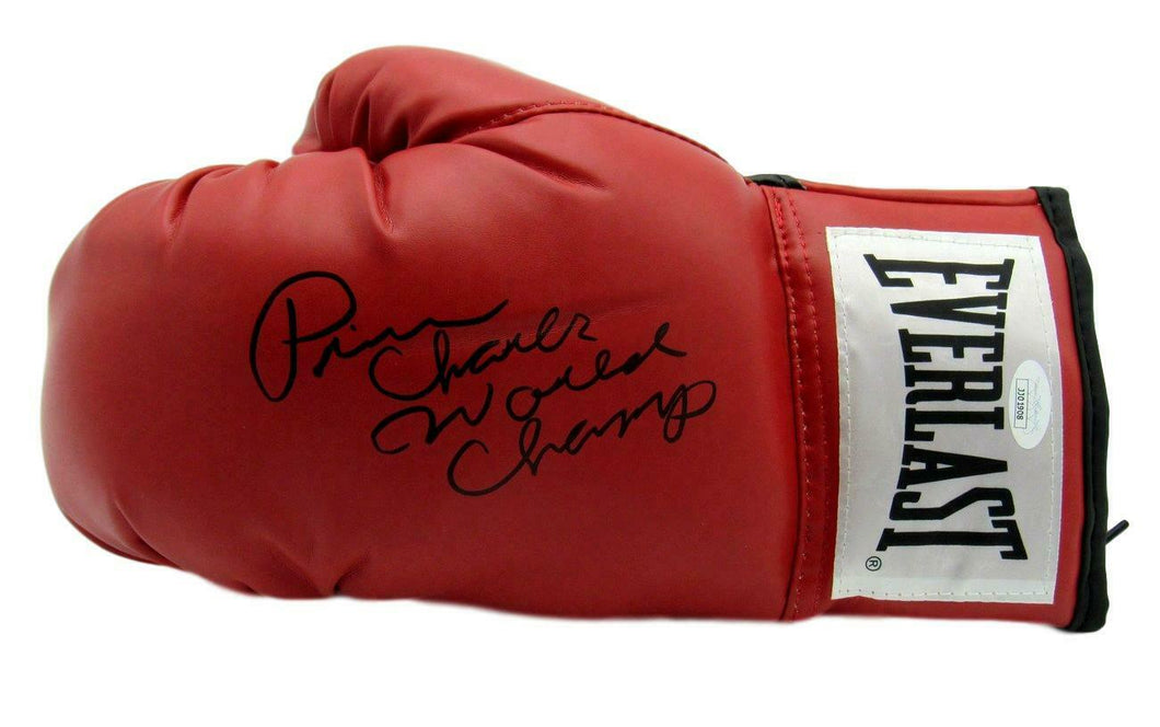 Prince Charles Boxing Signed/Inscr Everlast Red Left Boxing Glove JSA COA
