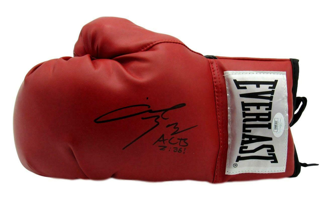 Angel Manfredy Boxing Signed/Inscr Everlast Red Left Boxing Glove JSA COA