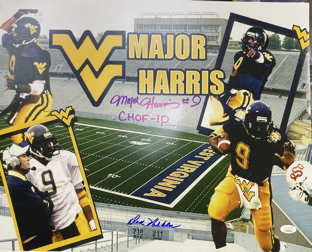 Major Harris and Don Nehlan West Virginia Moutaineers Signed 16x20 Collage CHOF 10 Inscr With JSA COA