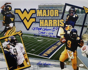 Major Harris and Don Nehlan West Virginia Mountaineers Signed 16x20 Collage CHOF 09 Eat Shit Pitt Inscr. With JSA COA