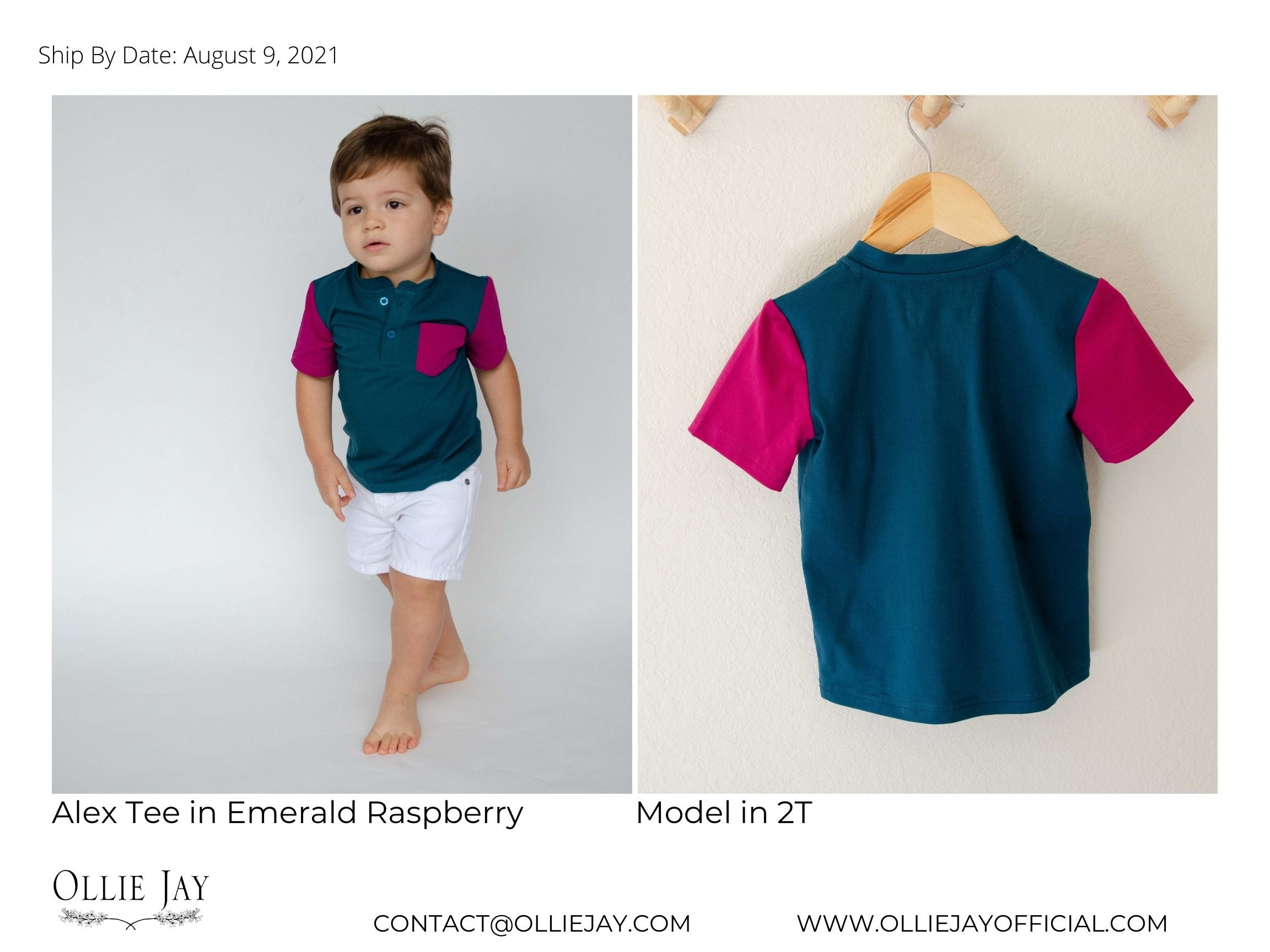 boys matching tees emerald and raspberry ollie jay