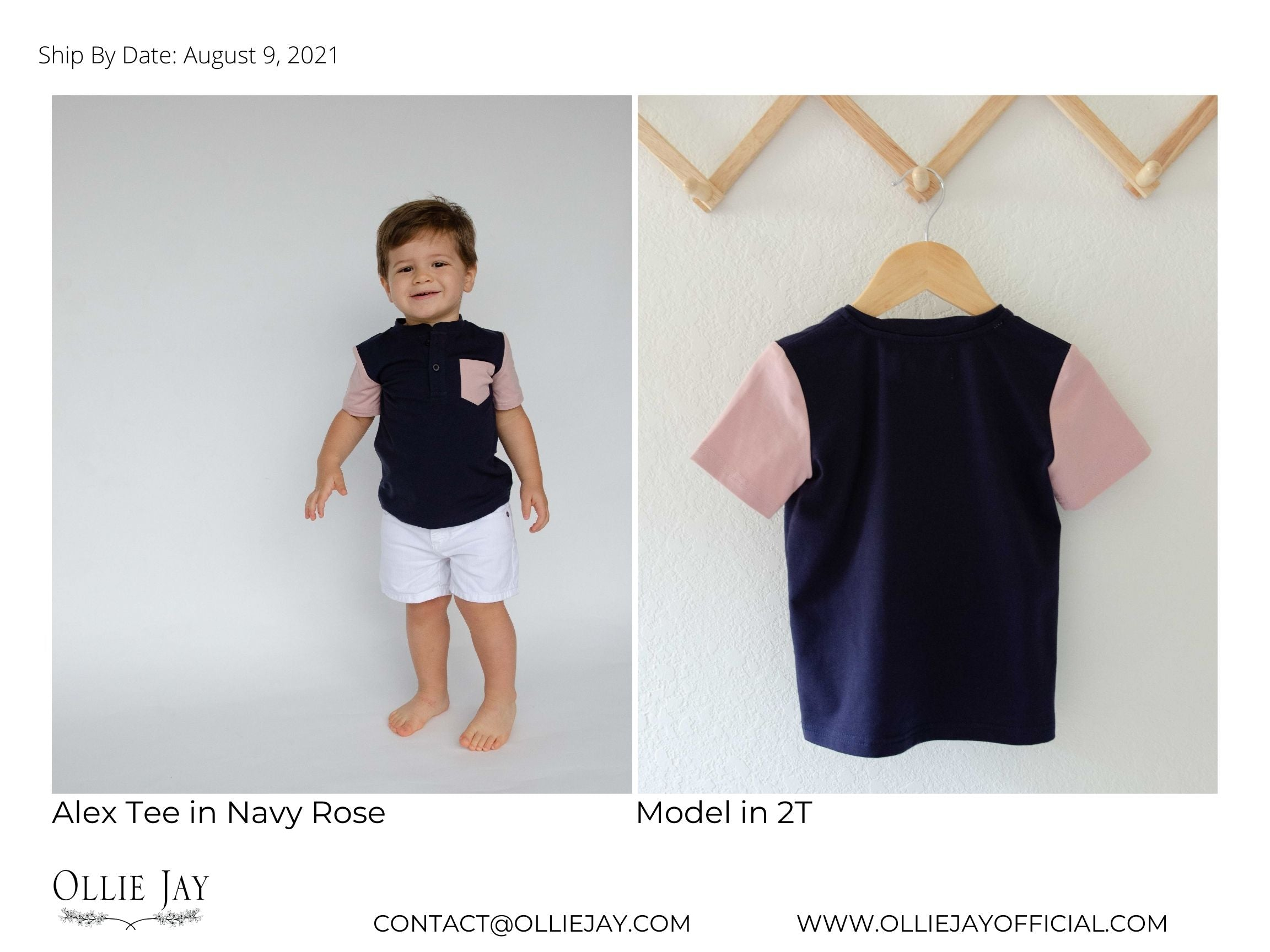 boys matching tee navy and rose